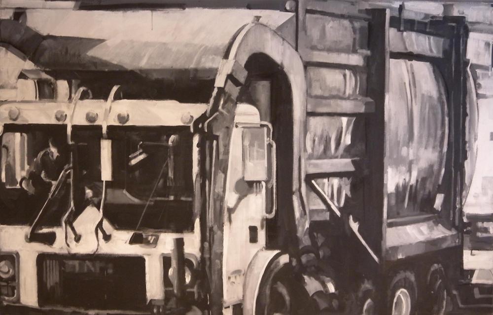 """B&W Trash Truck, acrylic on canvas, 42"""" x 99"""", 1999"""