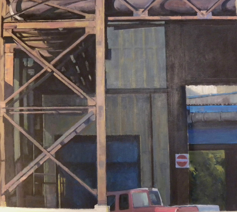 "Girder & Red Truck, acrylic on canvas on bars, 32"" x 36 1/4"" On Exhibit, Addison/Ripley Fine Art, DC"