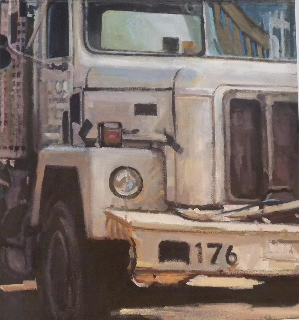 "White Truck 176, acrylic on canvas, 22 1/2"" x 21 1/2"""