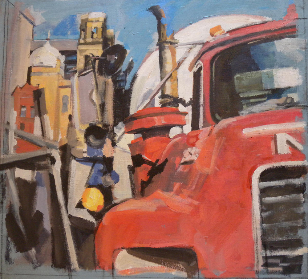 "Red Truck and Synagogue, acrylic on canvas, 26"" x 28"", Smithsonian American Art Museum Collection On Exhibit, AU Katzen Center, DC"