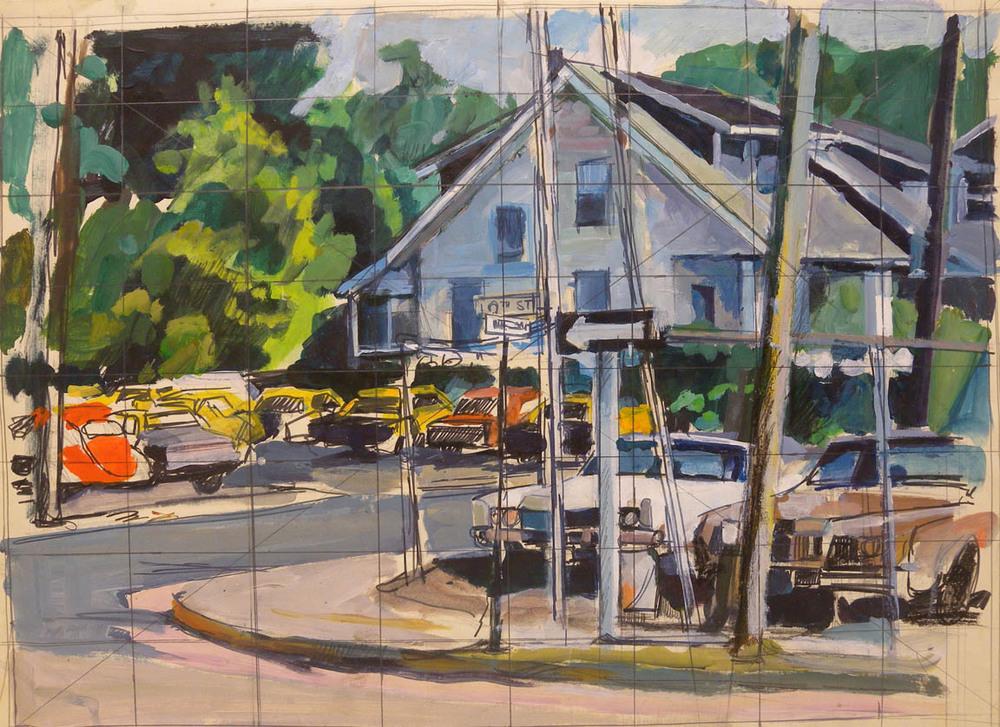 """Arlington Cabs (study), watercolor, ink, & acrylic, 18"""" x 24"""""""