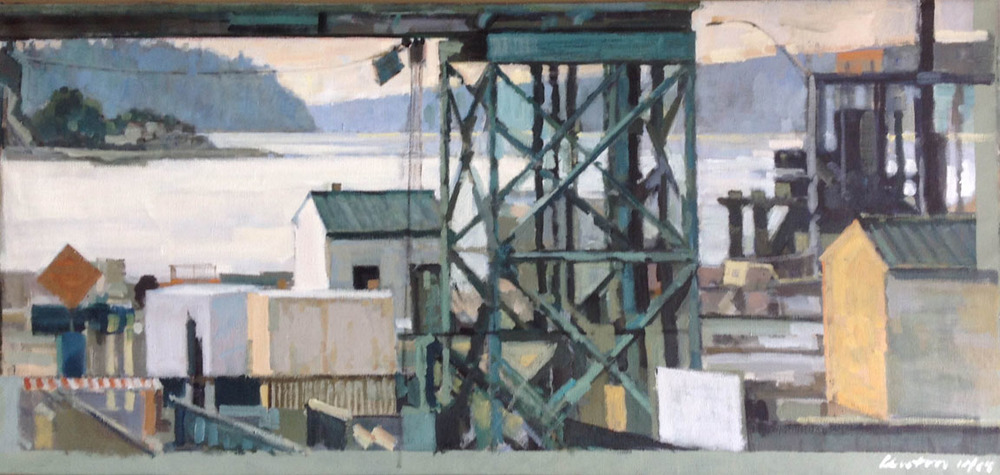 "Clinton Side of the Ferry, acrylic on canvas, 29"" x 62"", Private Collection, On Exhibit, John's Grille, Mukilteo, WA"
