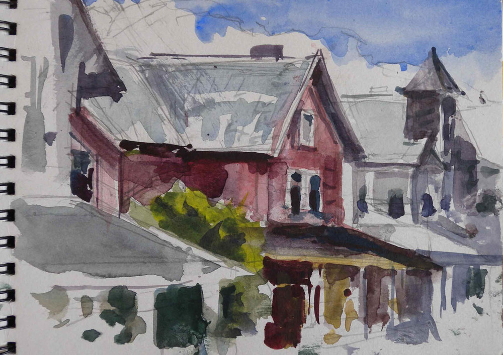 "Lewes Beach Houses, watercolor on paper in sketch book, 8"" x 12"""