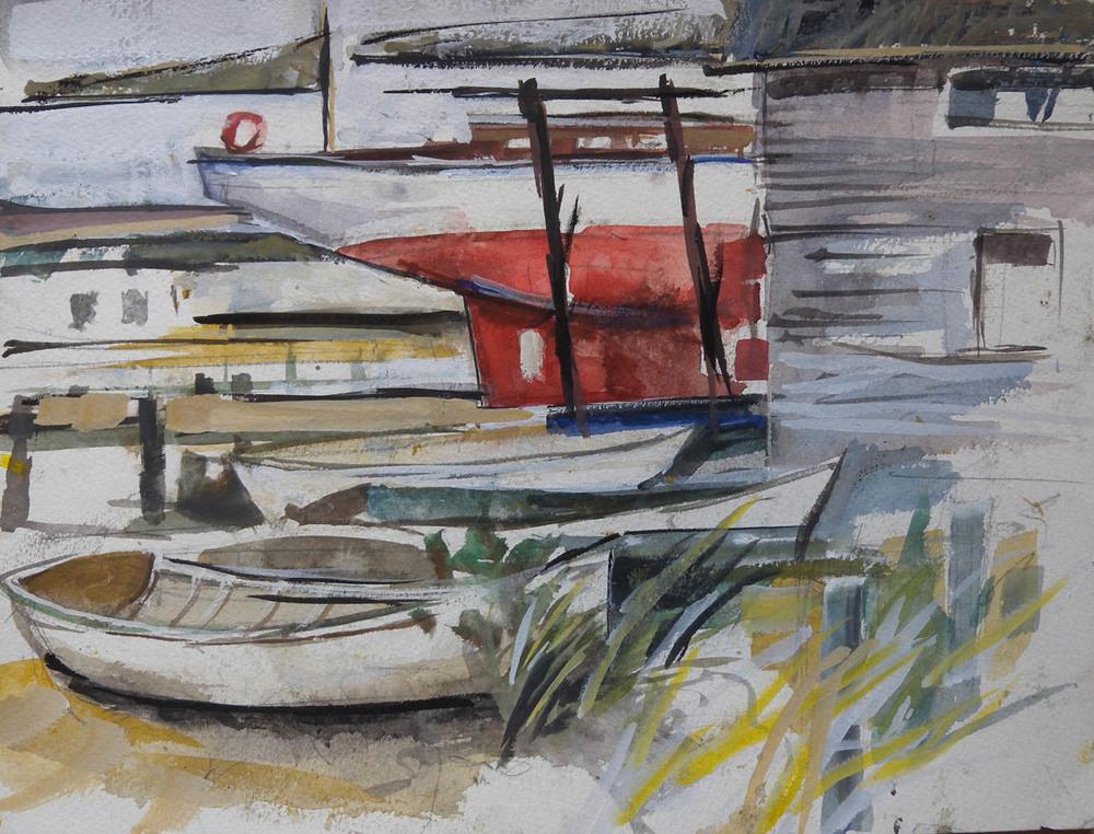 "Vineyard Haven Boatyard, watercolor on paper, 9"" x 12"""