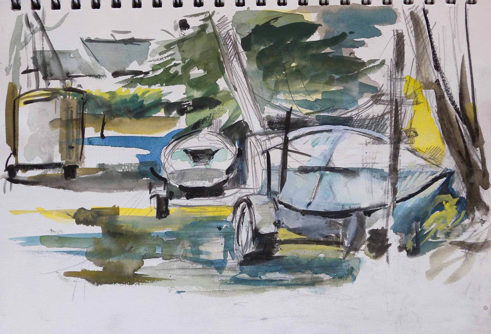 "Boat Trailer Yard, watercolor on paper from sketch book, 9"" x 12"""