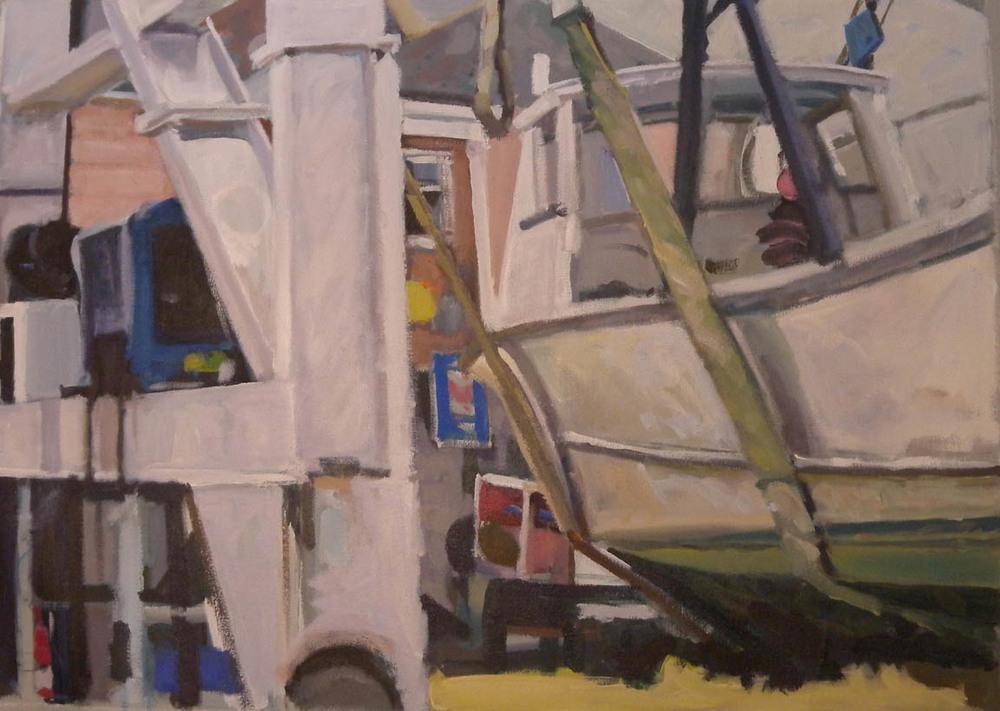 "Boatyard Split, acrylic on canvas, 23"" x 32"""