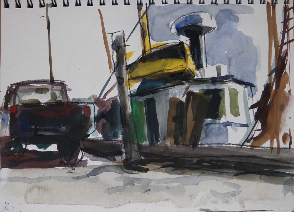 "Provincetown Dock with Truck, watercolor & charcoal on paper from sketch book, 8"" x 12"""