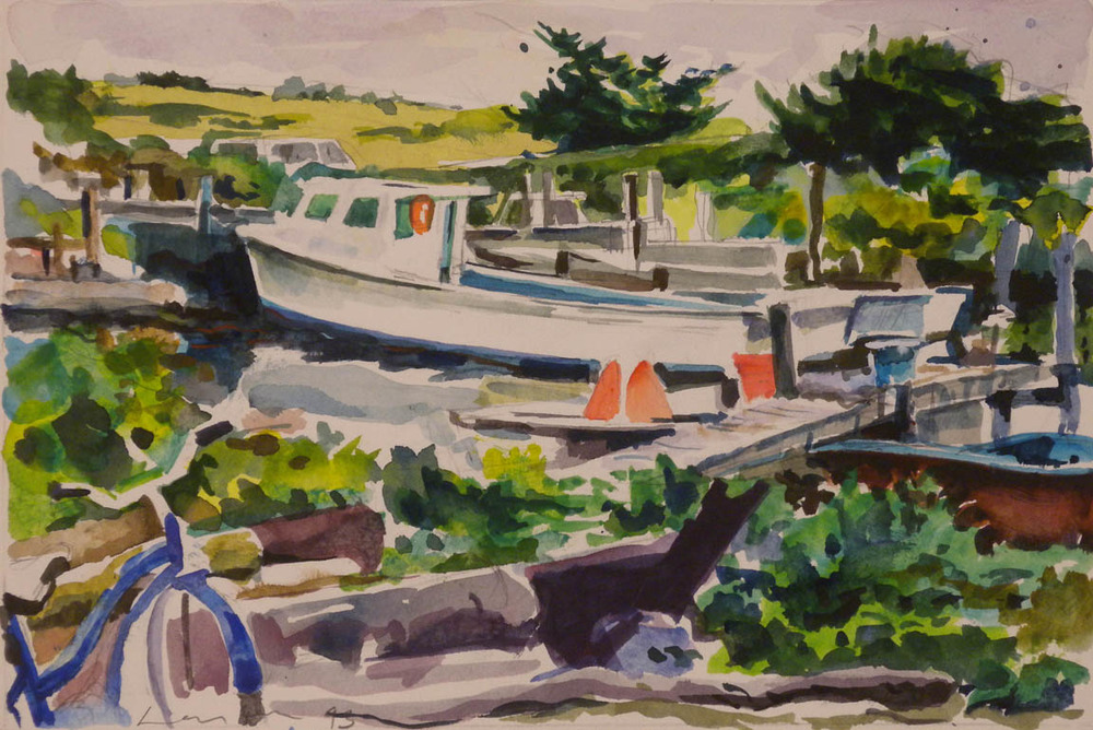 "Avon NC Dock, Boats & Bike, watercolor, 6 1/2"" x 9 1/2"""
