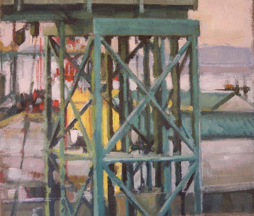 "Ferry Terminal San Juan Islands (NW),acrylic on canvas, 12 1/2"" x 17 3/4"""