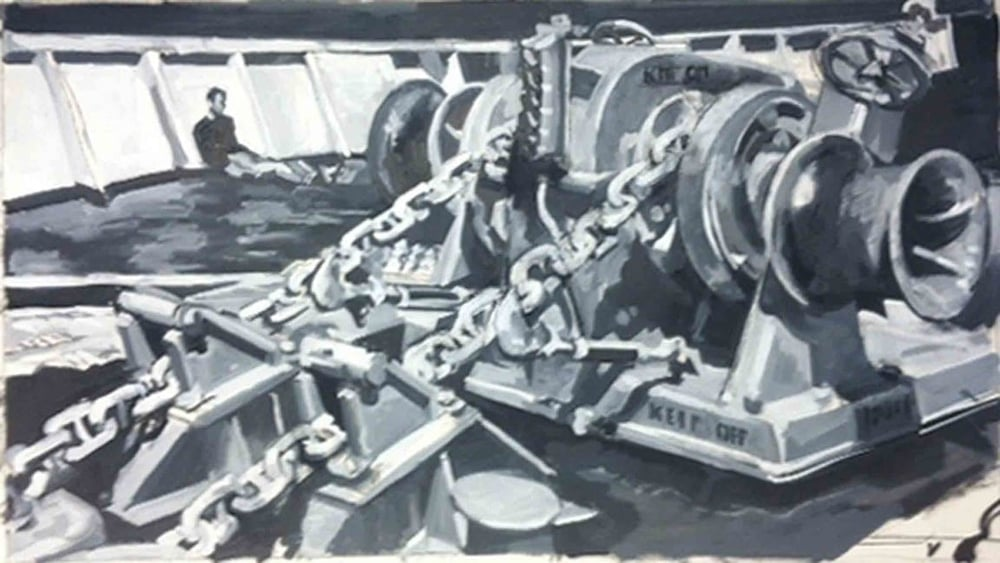 "Chains on Deck in B&W, acrylic on paper, 20 1/4'x 36"", 2000"