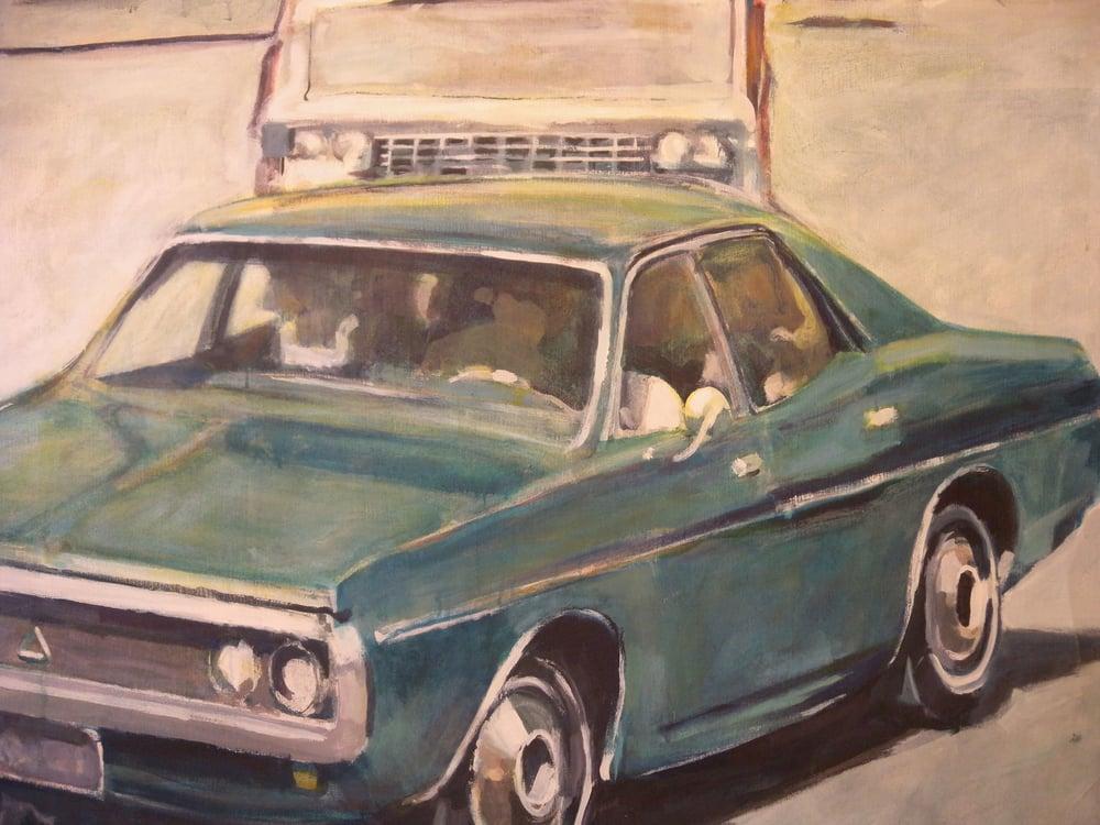 """Aqua Car, stained canvas, 53"""" x 55 1/2"""", 1972 Private Collection, On Exhibit, AU Katzen Center, DC"""