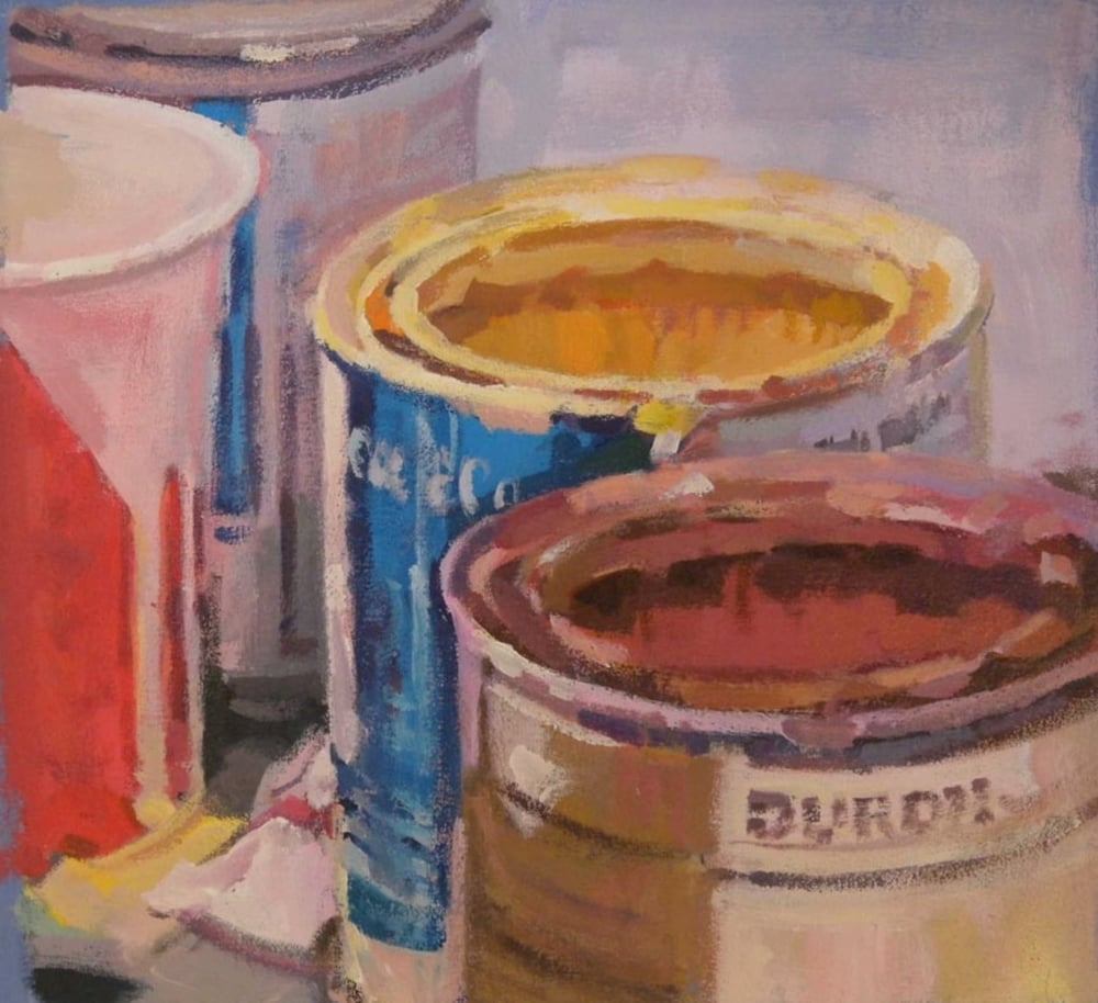 "Paint Cans Squared, acrylic on canvas on bars, 13"" x 14"" Private Collection"