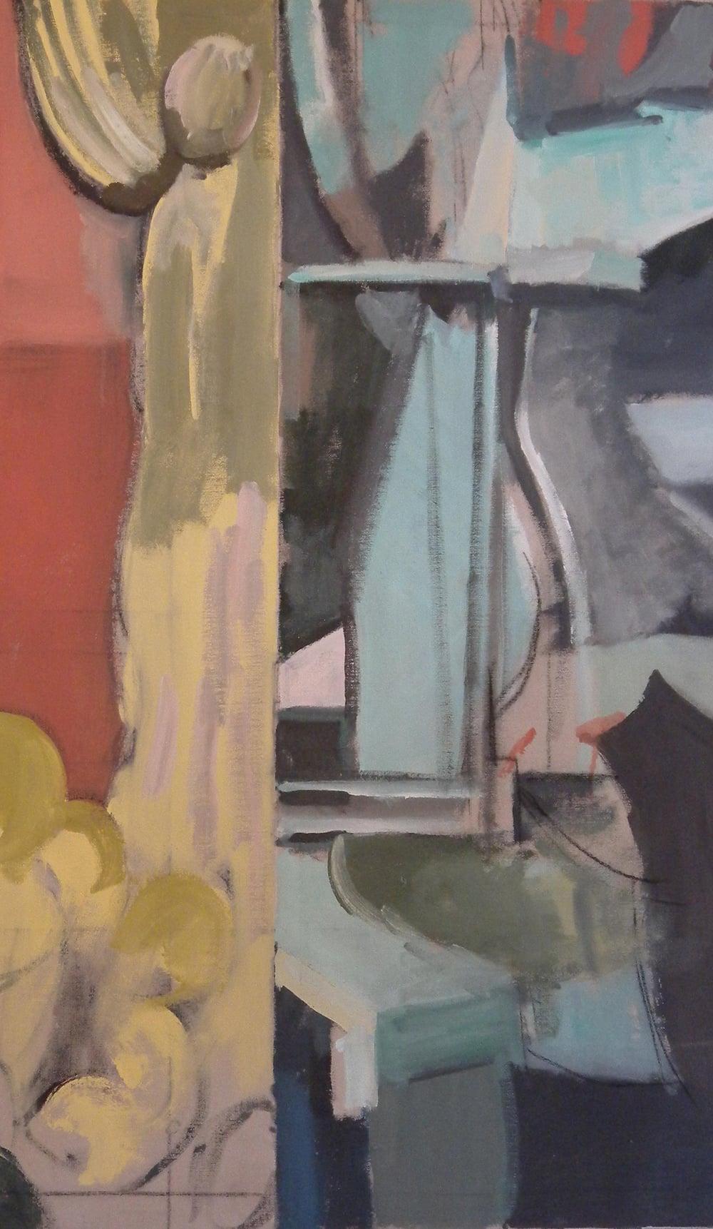 """Cactus Split, Machine #2, acrylic on canvas, 45"""" x 26 1/2"""",  Private Collection, On Exhibit, AU Katzen Center, DC"""