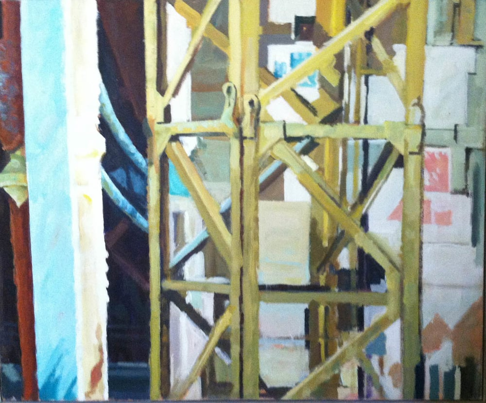 "Girder & Construction, acrylic on canvas, 29"" x 35"""