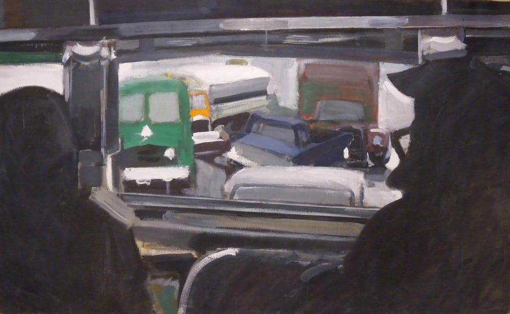 "From Inside the Bus, acrylic on canvas, 38"" x 62"""