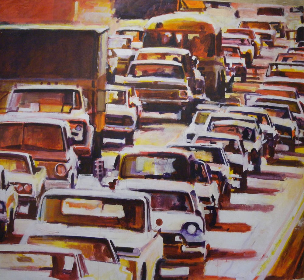 "Traffic in Orange/Red, acrylic on canvas, 55 1/2"" x 61"""