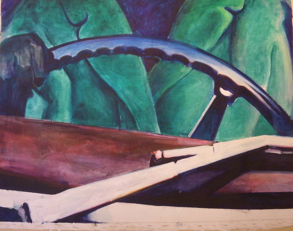 "Woman at Wheel, stained canvas, 37 1/2"" x 50"""