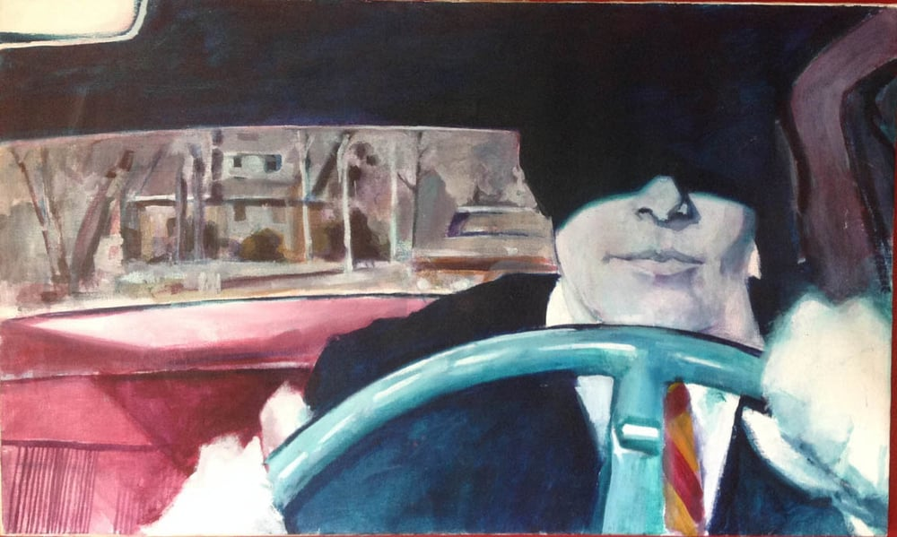 "Mysterious Male Driver, stained painting/acrylic on canvas, 30""x 50"" On Exhibit, John's Grille, Mukilteo, WA"