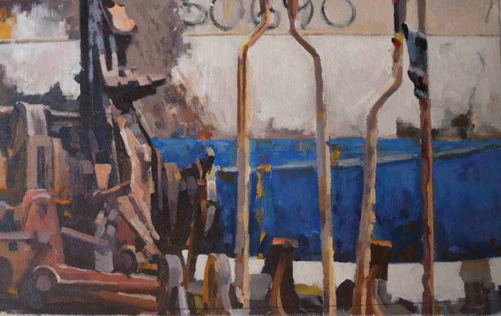 "Demolition & Blue Life Boat (69), acrylic on canvas, 18 1/2"" x 29 3/4"""