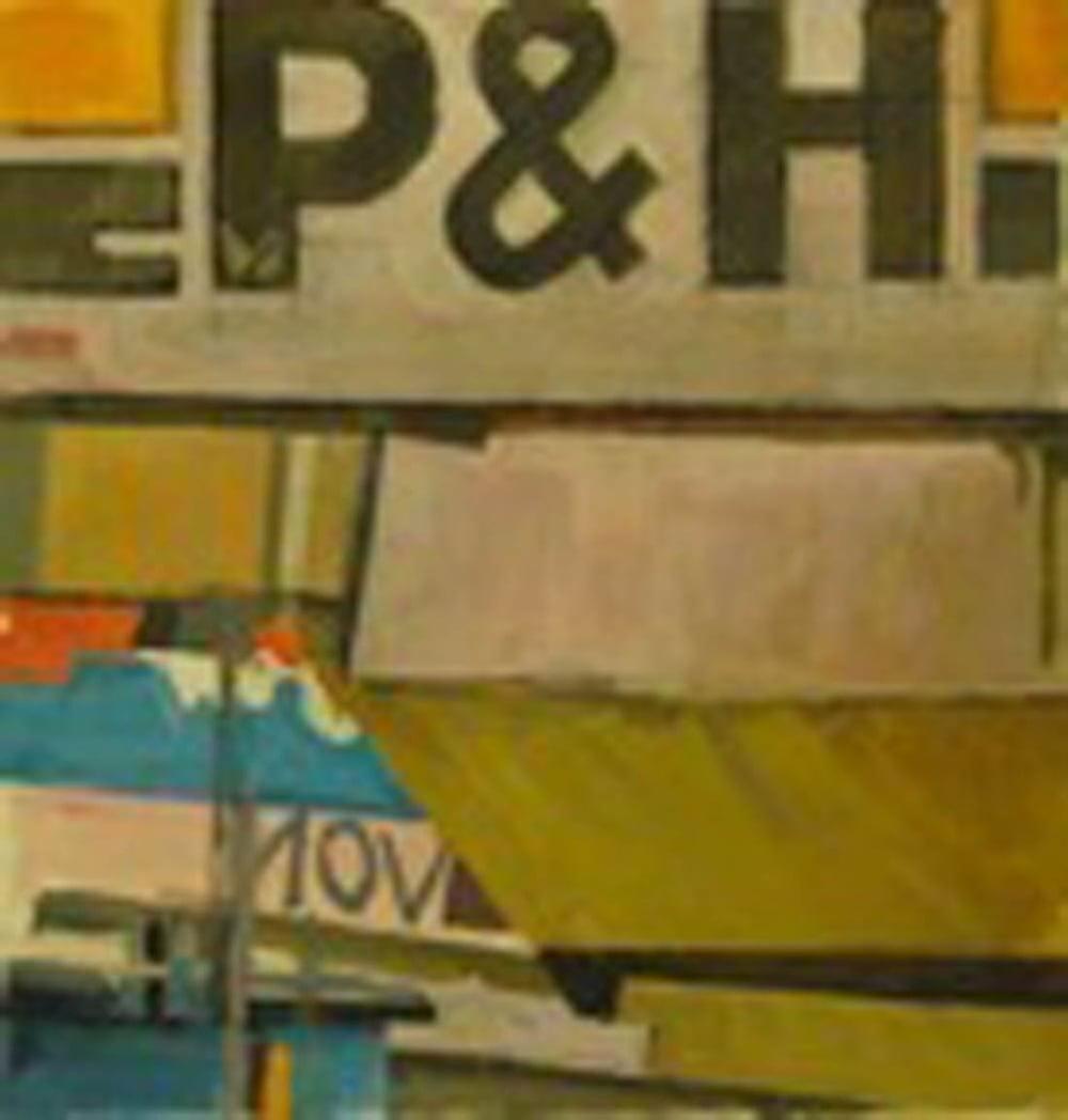 "P&H Construction,gouache on museum board, 13"" x 13"", 2003 Private Collection,On Exhibit, Addison/Ripley Fine Art, DC"