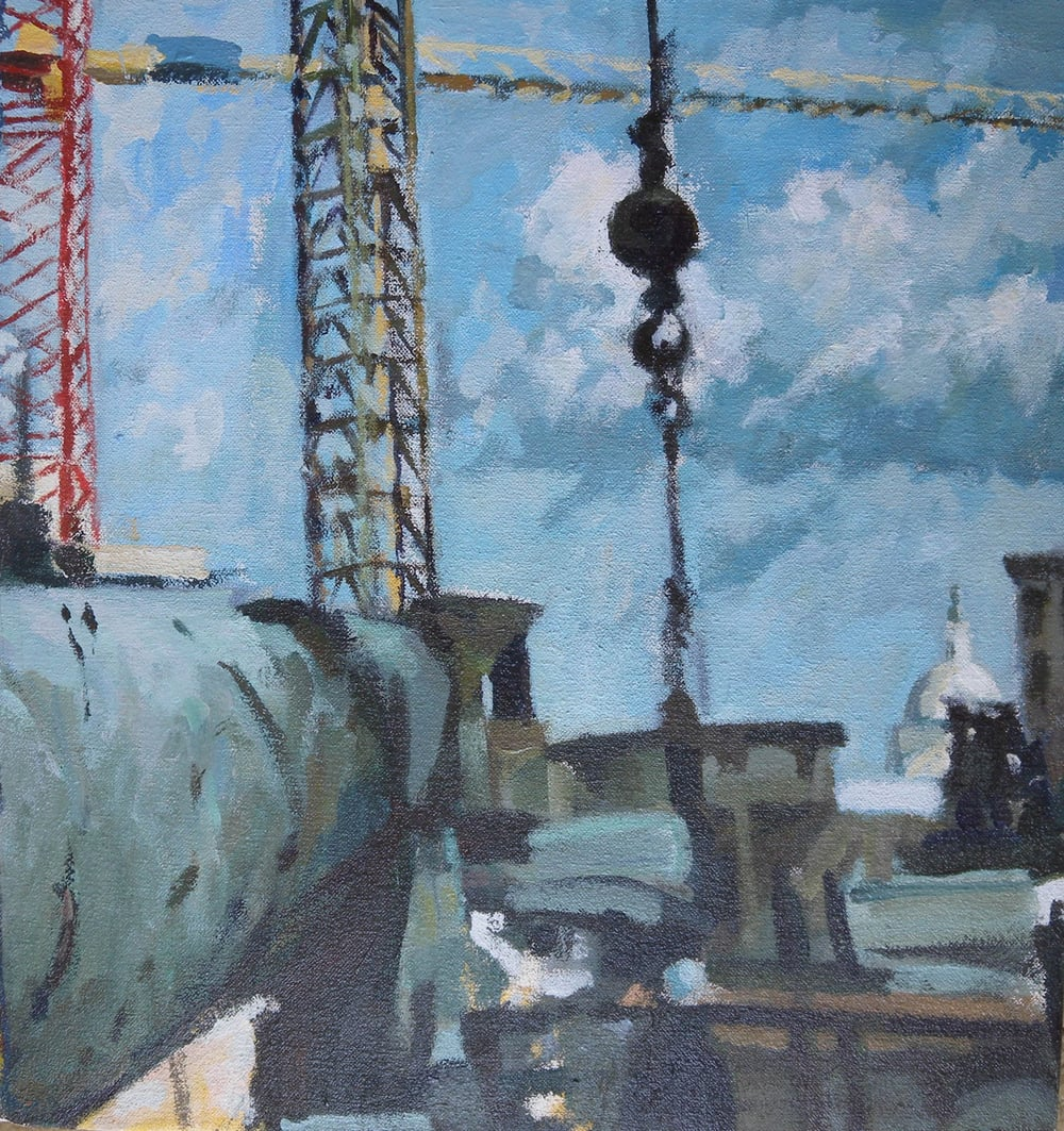 "Dome & Construction Squared, acrylic on canvas, 14"" x 13""                                                                   Private Collection"