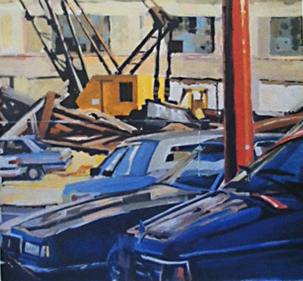 "Cars, Yellow Crane & Demolition, acrylic on paper, 28"" x 36"", 1990"