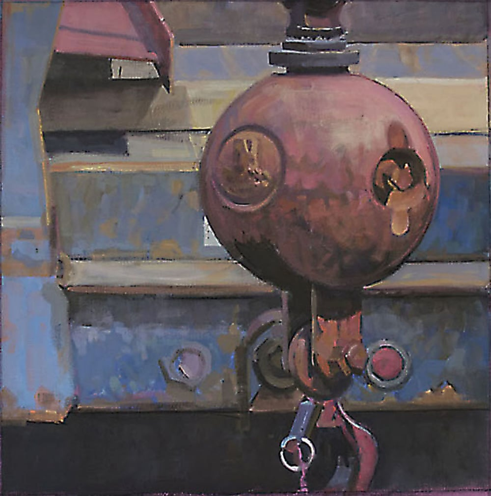 "Wrecking Ball, acrylic on canvas, 27 3/4"" x 27 1/2"""
