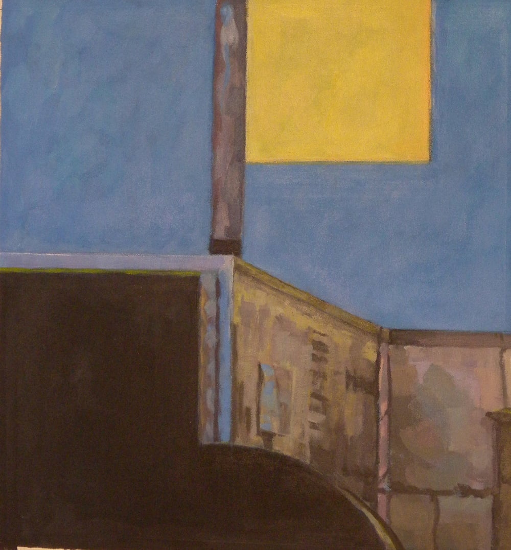 """Bee Bee Roof Furniture (blue), gouache on museum board,16"""" x 15"""", 2008 Private Collection, On Exhibit at Addison/Ripley Fine Art"""