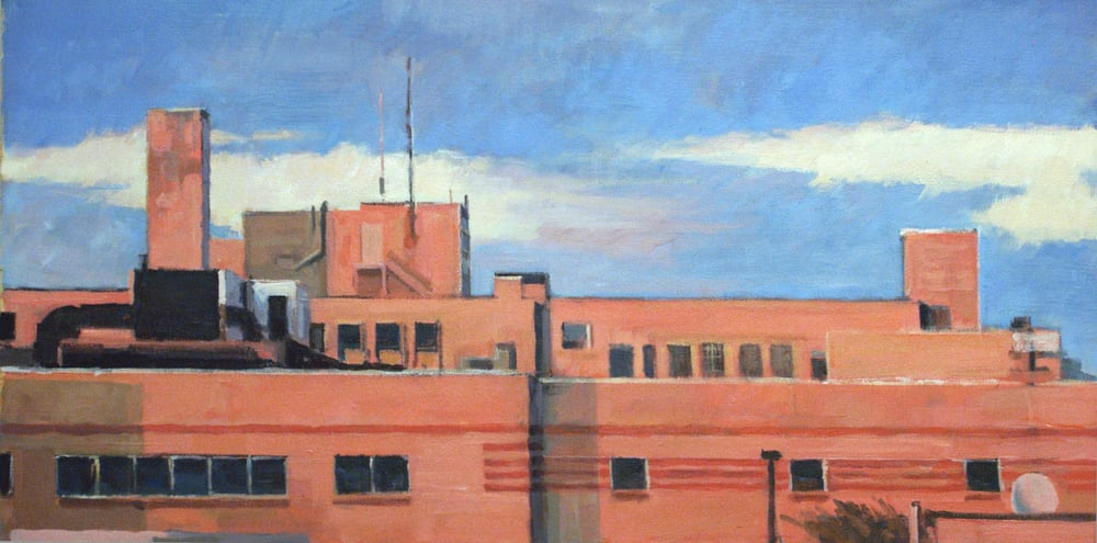 "Bee Bee Orange Façade/Blue Sky,acrylic on canvas, 18 1/2"" x 37"""