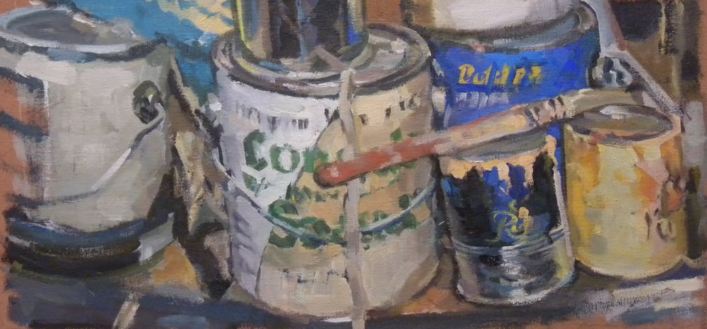 """Paint Cans & Brush, Sears, acrylic on canvas, 12 1/2"""" x 21 1/2""""                    Collection of the University of Maine"""