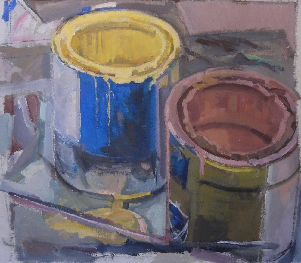 "Paint Cans Pink & Blue, acrylic on canvas,20"" x 22 1/2"""