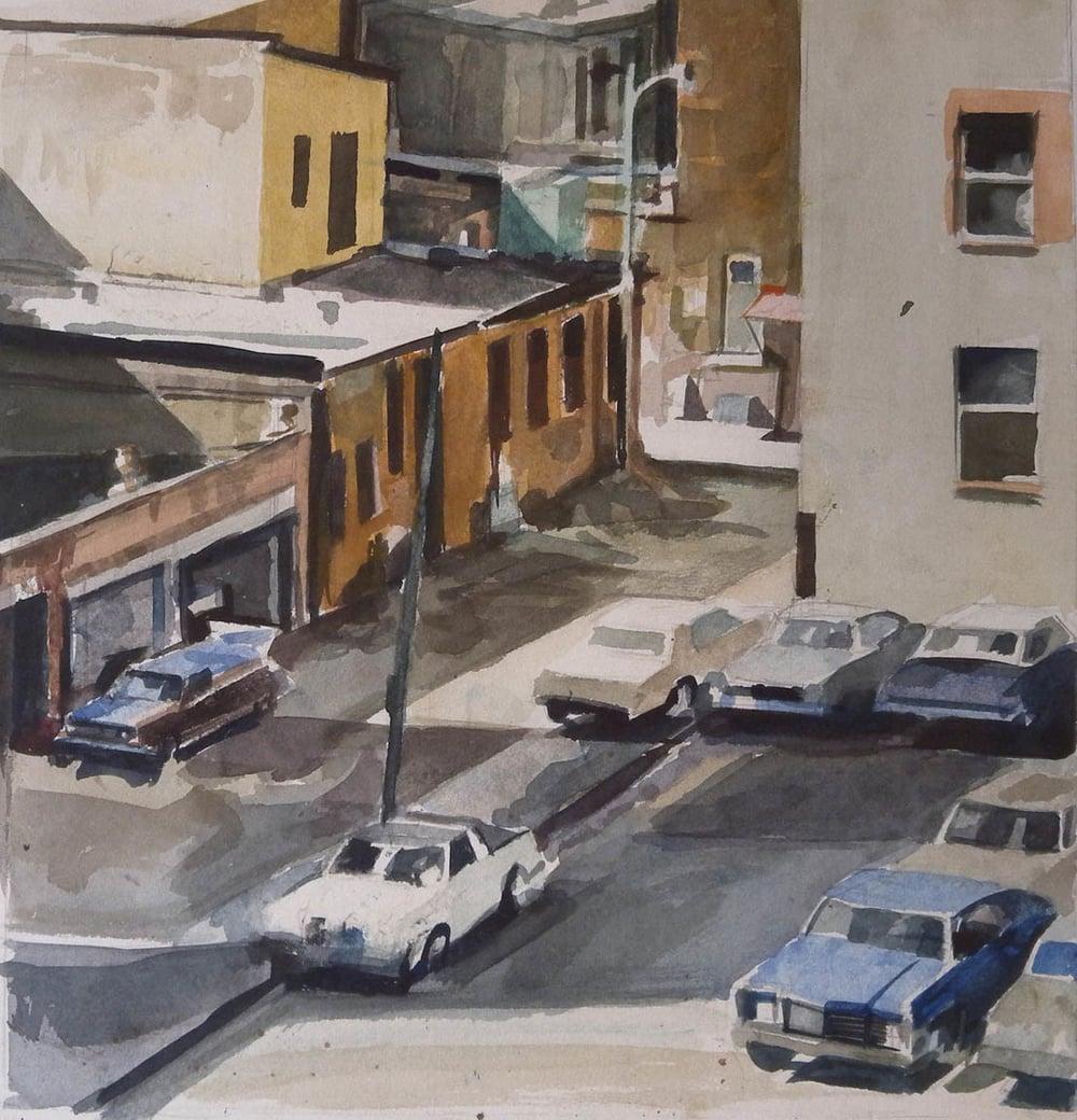 "DC Street Scene from Above, watercolor on paper, 12 1/2"" x 12 1/4"" On Exhibit, AU Katzen Center, DC"