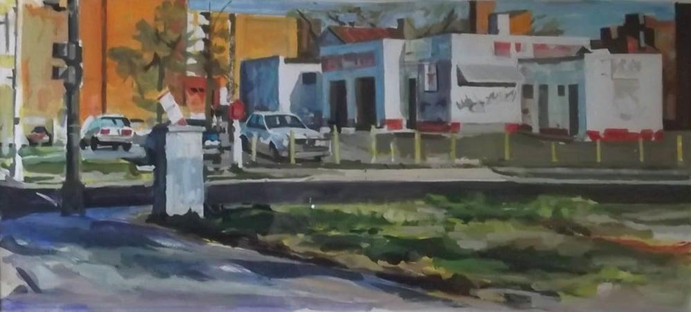 """Exxon Abandoned,watercolor on paper,13"""" x 30"""", Private Collection, On Exhibit, AU Katzen Center, DC"""