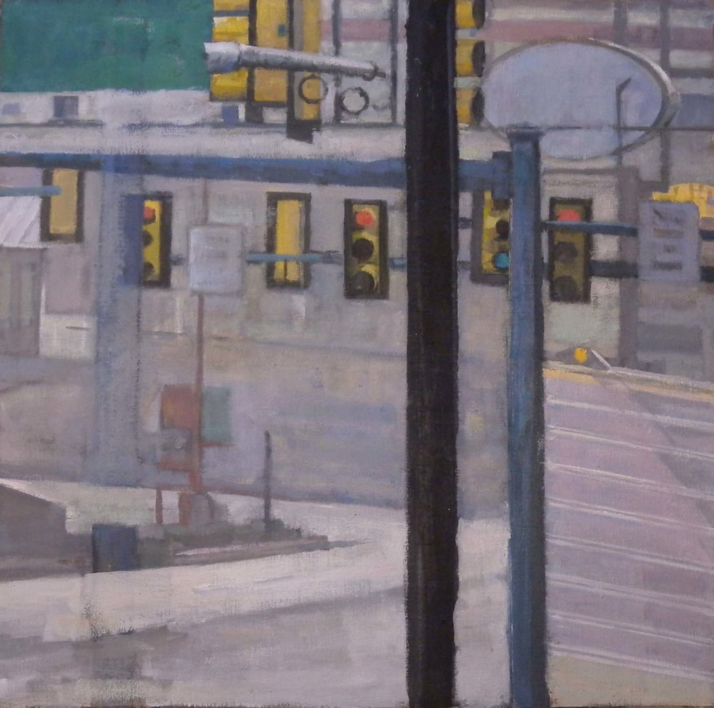 "Breezewood Traffic Lights, acrylic on canvas, 26"" x 26 1/2"", 2014                       Federal Reserve Board Collection, Washington, DC"