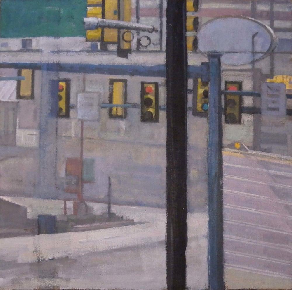 """Breezewood Traffic Lights, acrylic on canvas, 26"""" x 26 1/2"""", 2014 On Exhibit, AU Katzen Center, DC"""