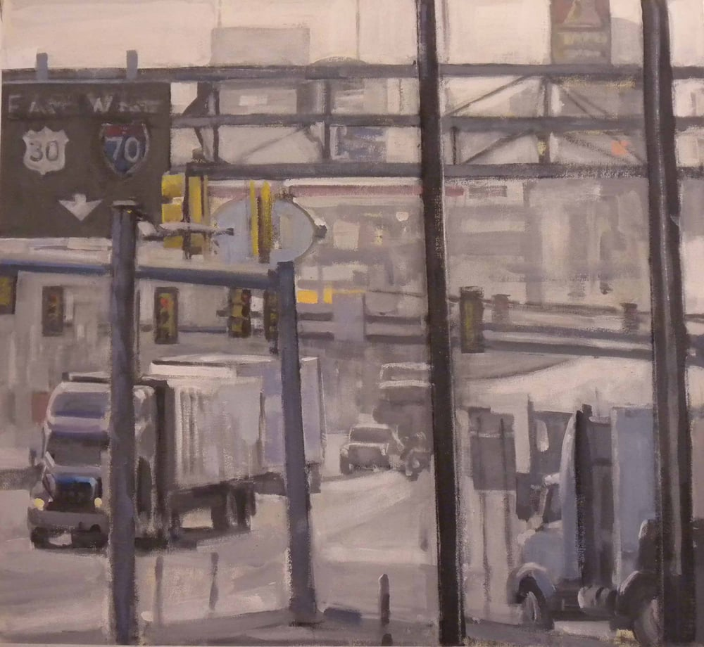 "Breezewood East West Truck Stop #2, acrylic on canvas,30"" x 32 1/2"", 2011"