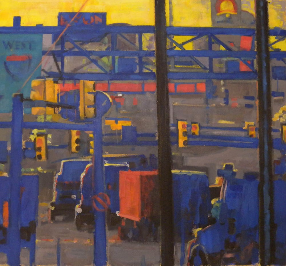 "Breezewood Blue and Yellow Fauve, acrylic on canvas, 22 3/4"" x 25"""