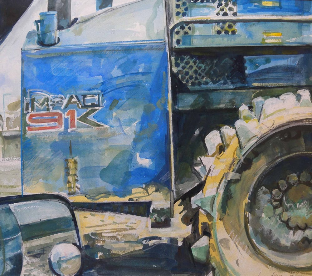 "91K Tractor, watercolor on paper, 16"" x 18"", 2014"