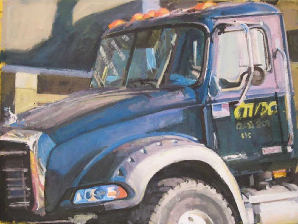 "Blue Mack Truck/Yellow Canvas (MDC), acrylic on canvas, 21"" x 28"", 2007                                                          Private Collection"