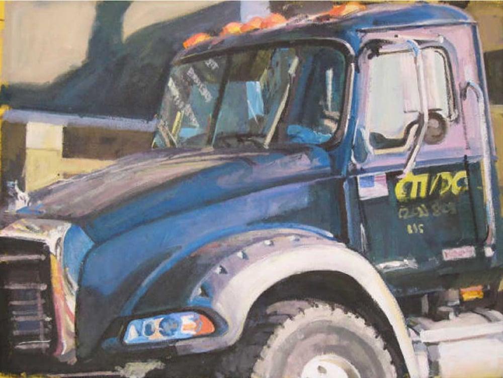 "Blue Mack Truck/Yellow Canvas (MDC), acrylic on canvas, 21"" x 28"", 2007 Private Collection, On Exhibit, AU Katzen Center, DC"
