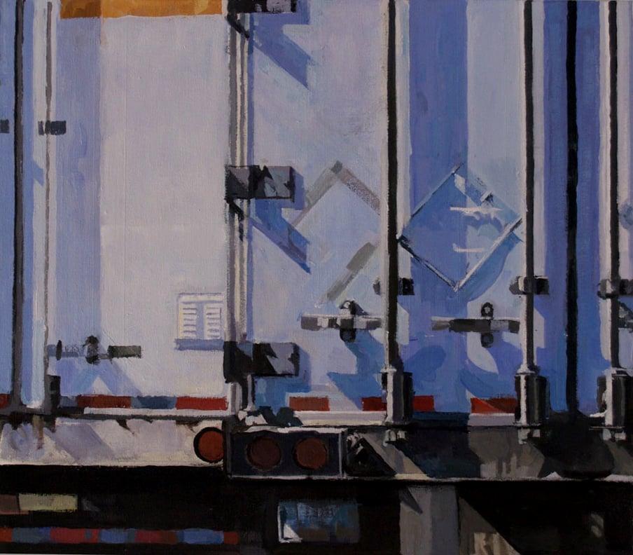 "Stripe Homage (Blue),acrylic on canvas,22"" x 25"", 2014 Private Collection, On Exhibit, AU Katzen Center, DC"