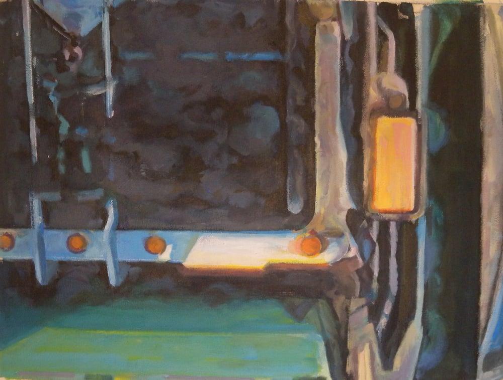 "Truck Back Detail Abstract, acrylic on canvas, 21"" x 28"", 2014 On Exhibit, AU Katzen Center, DC"