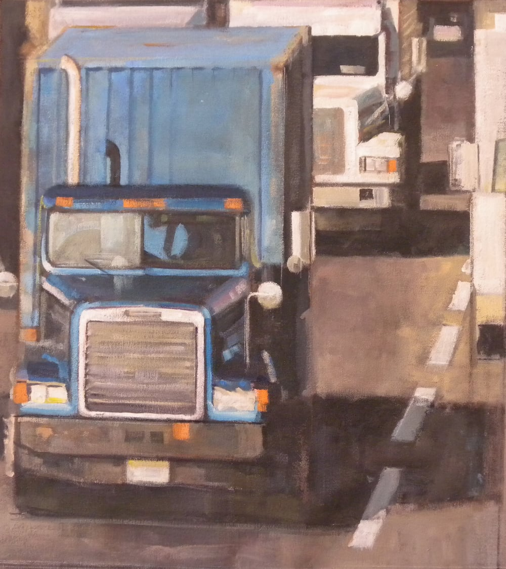 "Two Trucks, Blue Truck, acrylic on canvas, 27"" x 25"""