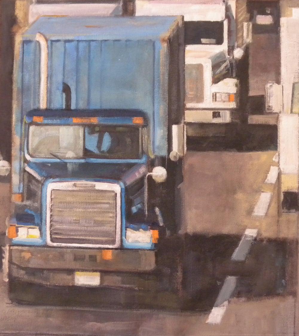 """Two Trucks, Blue Truck, acrylic on canvas,27"""" x 25"""" On Exhibit, AU Katzen Center, DC"""