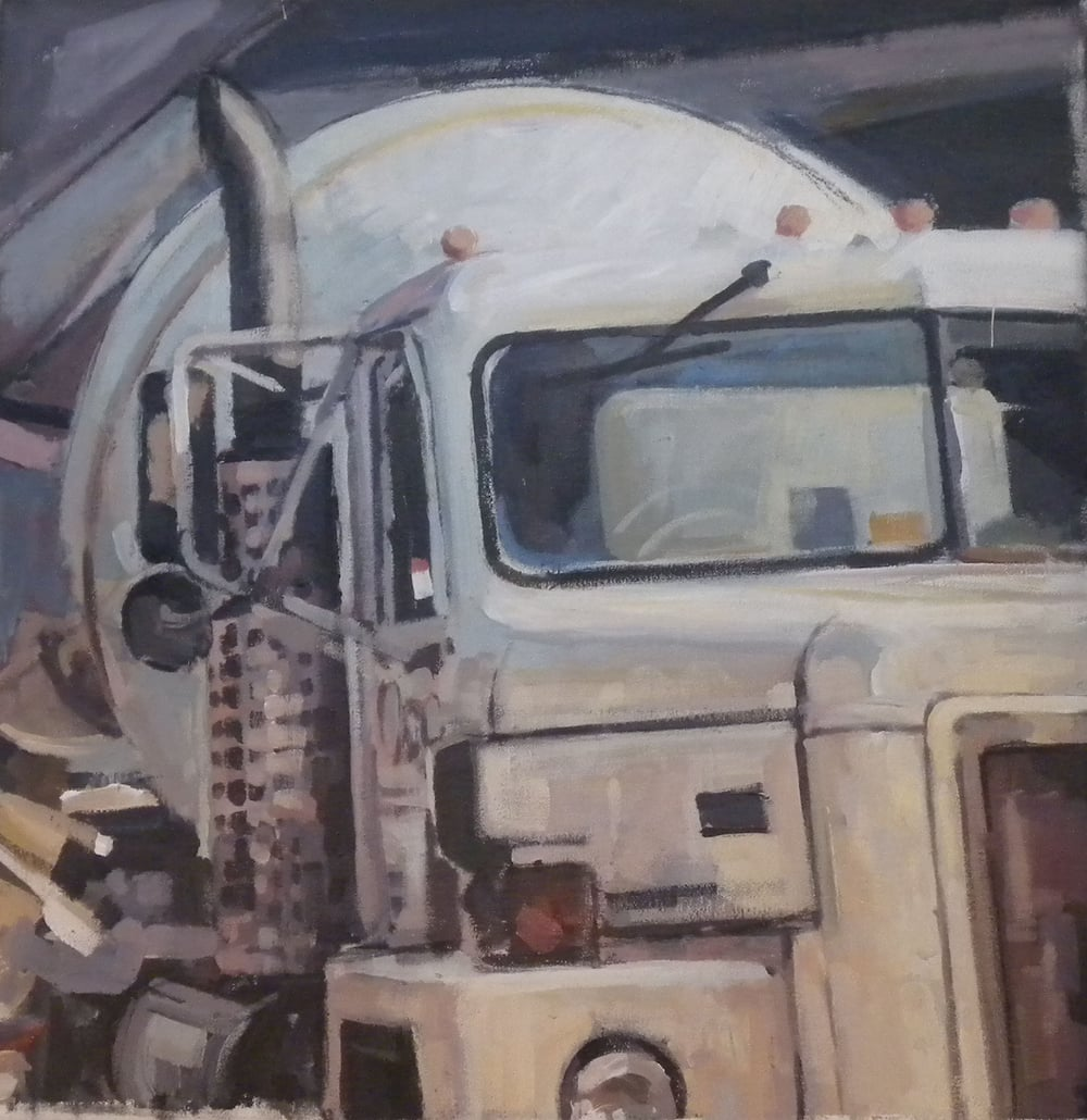 "White Cement Mixer, acrylic on canvas, 24 1/2"" x 24 1/2"""