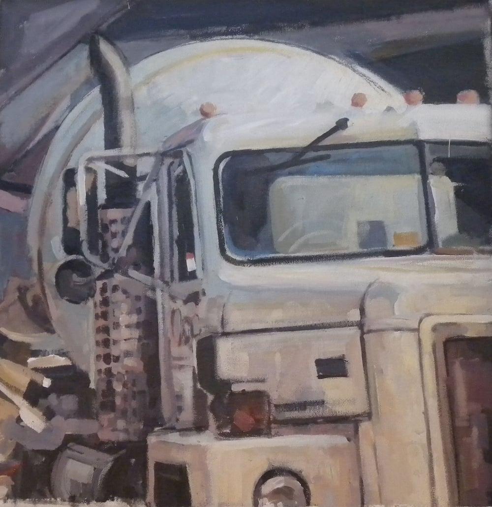 """White Cement Mixer, acrylic on canvas,24 1/2"""" x 24 1/2"""" On Exhibit, AU Katzen Center, DC"""