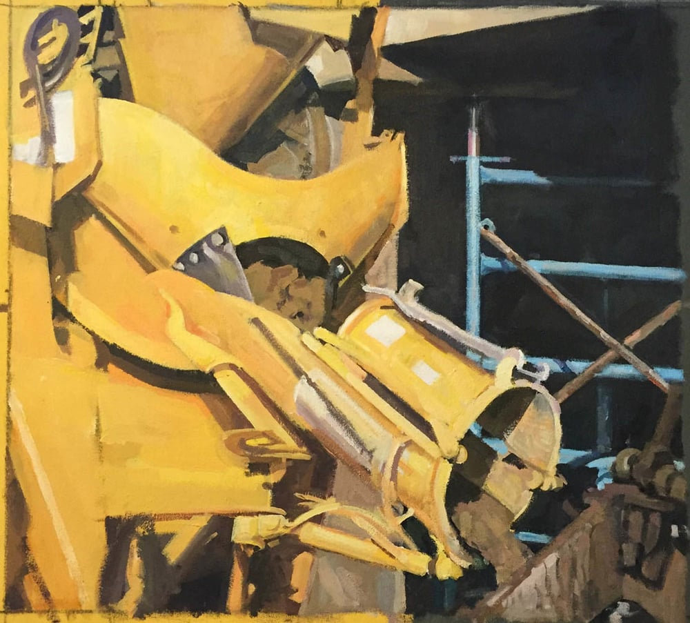 "Yellow Cement Mixer, acrylic on canvas, 21 3/4"" x 24"",                                                           Private Collection"