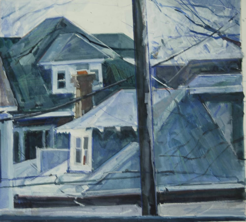 "Brightwood Rooftops 1, gouache on museum board, 13"" x 12 1/2"", 2012"