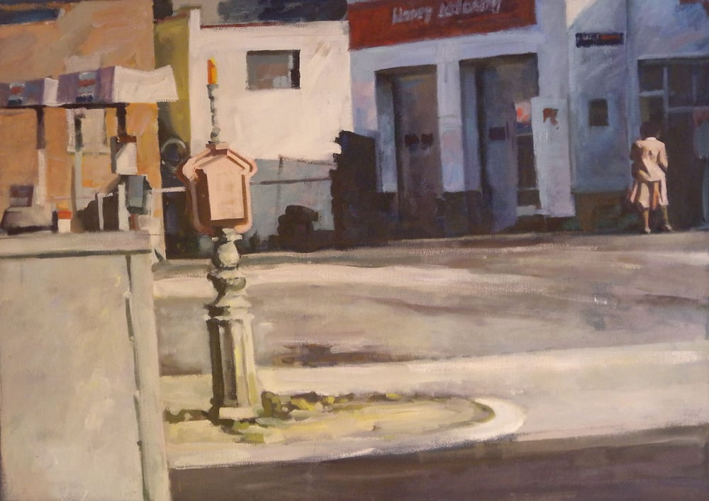 "Call Box & Figure, acrylic on canvas, 30"" x 42 1/2"", 1999 On Exhibit, AU Katzen Center, DC"