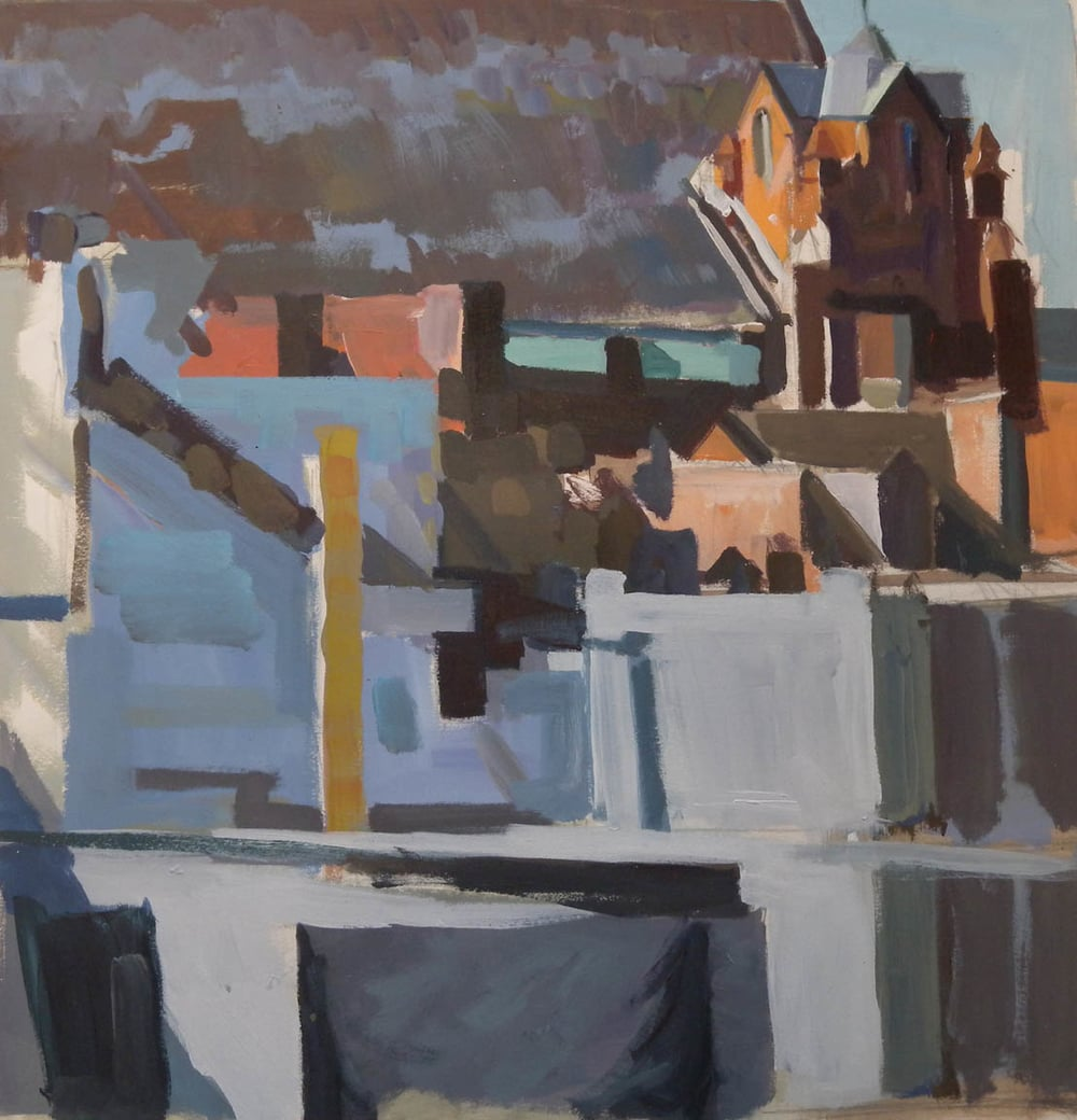 "City Rooftops (unfinished), acrylic on paper, 18 1/2"" x 18"""